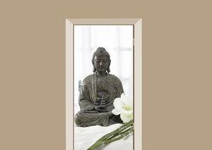 Deursticker Boeddha beeld met orchidee