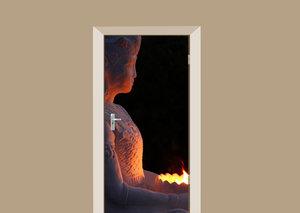 Deursticker Boeddha met vuur