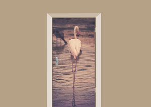 Deursticker flamingo safari