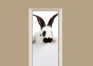 Deursticker konijn wit met zwart