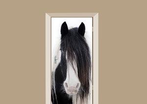 Deursticker paard zwart wit