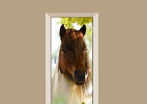 Deursticker paard wit met bruin
