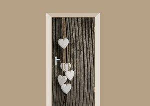 Deursticker witte hartjes op boom