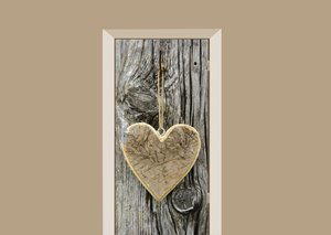 Deursticker houten hart op boom