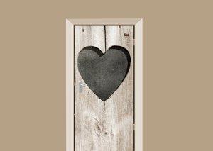 Deursticker houten deur met hart beige