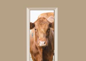 Deursticker koe bruin