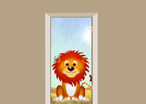 Deursticker leeuw in de zon