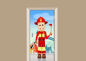Deursticker brandweerman