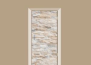 Deursticker stenen muur beige