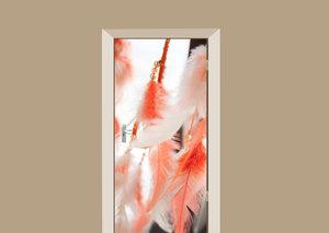 Deursticker oranje veren