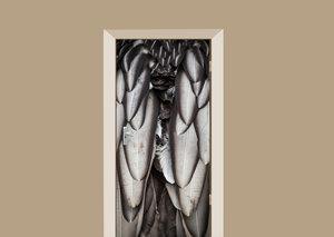 Deursticker zilveren veren