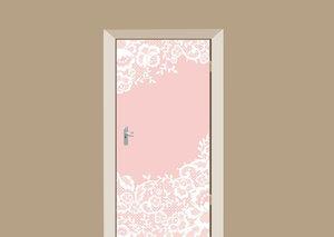 Deursticker roze met kant