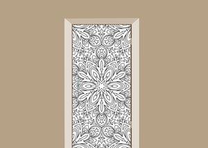 Deursticker bohemian bloemenmotief wit