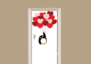Deursticker pinguïn love