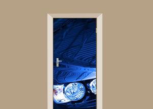 Deursticker blauwe auto