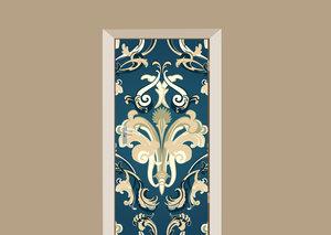 Deursticker barok donkerblauw/creme