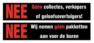 Sticker set géén collectes, verkopers of geloofsovertuigers!