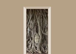 Deursticker Boeddha hoofd met boom