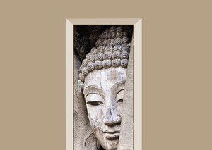 Deursticker Boeddha hout