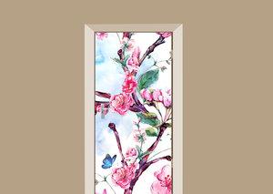 Deursticker geschilderde bloemen multicolor