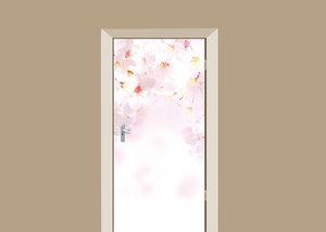 Deursticker geschilderde bloemen roze