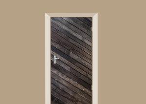 Deursticker donkere diagonale planken