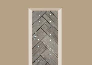 Deursticker geometrische planken