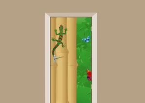 Deursticker gekko in de jungle