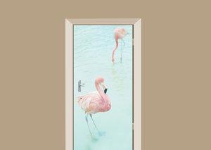 Deursticker flamingo's