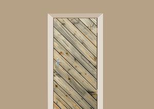 Deursticker diagonale planken