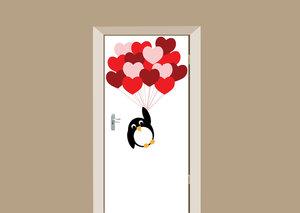Deursticker pinguïn love