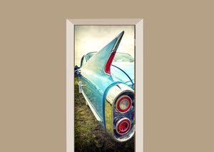 Deursticker auto vleugel blauw