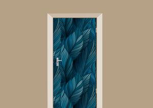 Deursticker blauwe bladeren