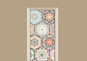 Deursticker hexagon tegels multicolor