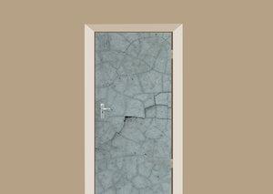 Deursticker gebarsten betonnen muur