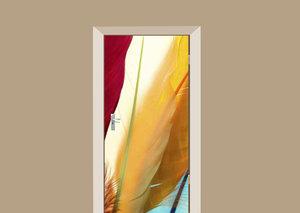 Deursticker multicolor veren