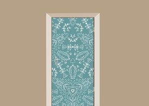 Deursticker bohemian bloemenmotief blauw