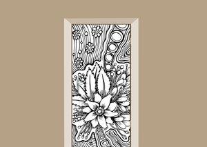 Deursticker bohemian bloemenmotief zwart wit