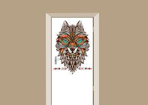 Deursticker bohemian wolf multicolor