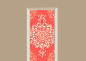 Deursticker bohemian motief rood