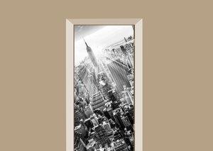 Deursticker skyline New York City zwart-wit