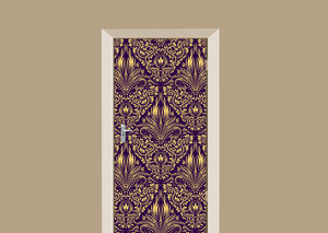 Deursticker barok damask paars