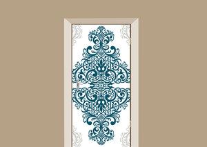 Deursticker barok wit blauw grijs