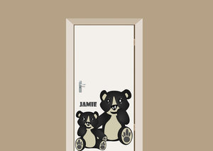 Deursticker babykamer zittende beertjes met naam 70x75cm