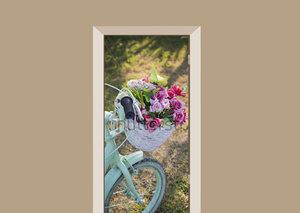 Deursticker fiets met bloemen