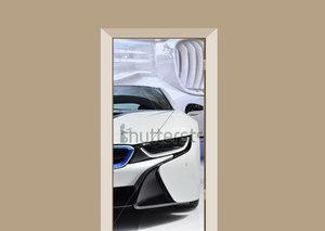 Deursticker auto BMW wit