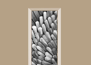 Deursticker abstract metal feathers