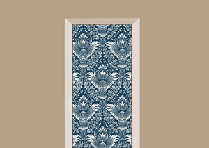 Deursticker barok uil blauw