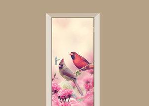 Deursticker bloemen en vogels