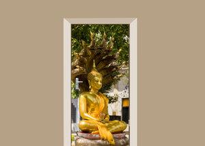 Deursticker Boeddha beeld goud